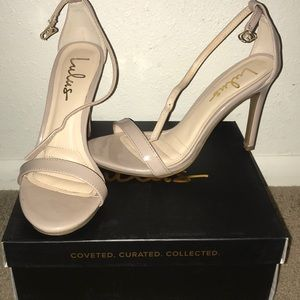Lulus Nude Patent Ankle Strap Heels